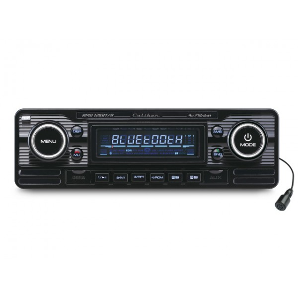 autoradio vintage look retro black usb sd sans cd pont bluetooth aquacars. Black Bedroom Furniture Sets. Home Design Ideas